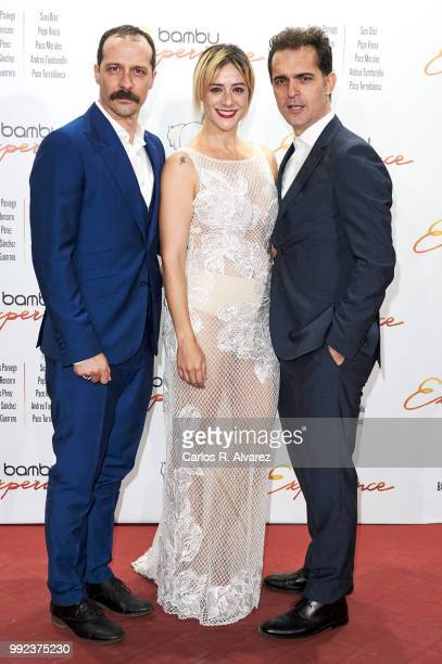 Actors Fele Martinez Luz Baldenebro and Pedro Alonso attends the Bambu 10th anniversary party at Gran Maestre Theater on July 5 2018 in Madrid Spain