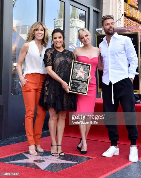 Actors Felicity Huffman Eva Longoria Anna Faris and Ricky Martin attend the ceremony honoring Eva Longoria with star on the Hollywood Walk of Fame on...