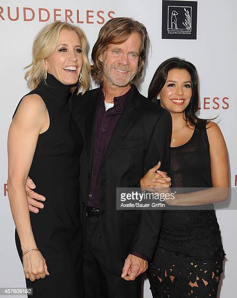 Actors Felicity Huffman William H Macy and Eva Longoria arrive at the Los Angeles VIP Screening of 'Rudderless' at the Vista Theatre on October 7...