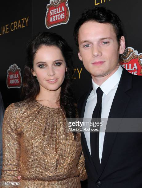 Actors Felicity Jones and Anton Yelchin arrive at the premiere of Paramount Pictures' 'Like Crazy' held at the Egyptian Theatre on October 25 2011 in...