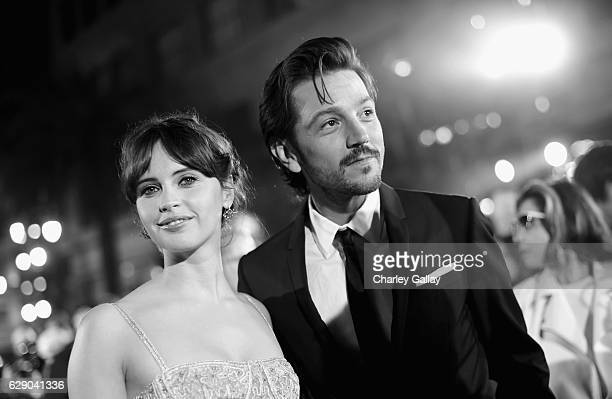 Actors Felicity Jones and Diego Luna attend The World Premiere of Lucasfilm's highly anticipated firstever standalone Star Wars adventure 'Rogue One...