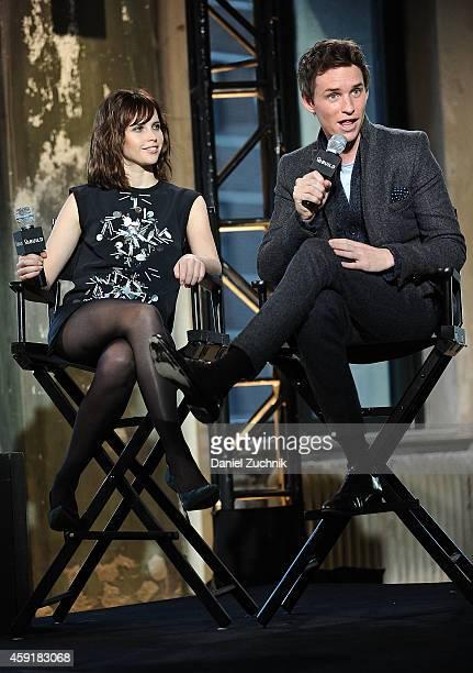 Actors Felicity Jones and Eddie Redmayne attend the AOL's BUILD Speaker Series Presents Eddie Redmayne and Felicity Jones at AOL Studios In New York...