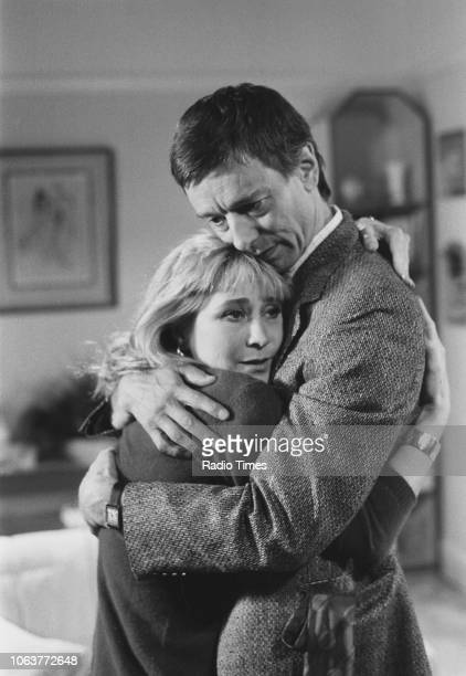 Actors Felicity Kendal and Peter McEnery embracing in a scene from the television series 'The Mistress' September 27th 1986