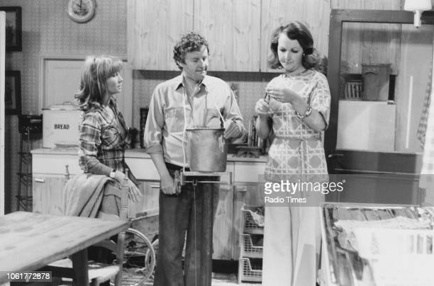 Actors Felicity Kendal Richard Briers and Penelope Keith in a scene episode 'Early Doors' of the television sitcom 'The Good Life' June 13th 1976
