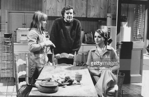 Actors Felicity Kendal Richard Briers and Penelope Keith in a scene the television sitcom 'The Good Life' June 27th 1976