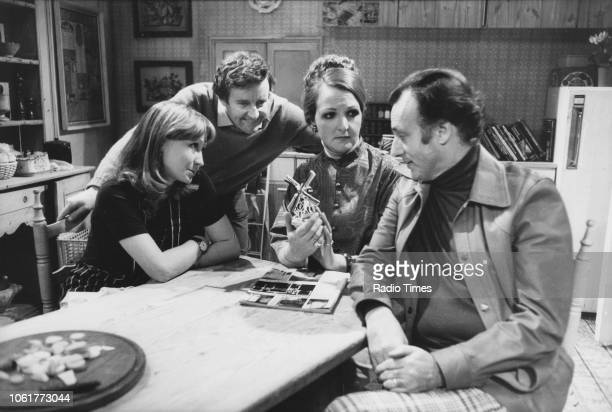 Actors Felicity Kendal Richard Briers Penelope Keith and Paul Eddington in a scene from the television sitcom 'The Good Life' November 9th 1975