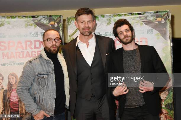 Actors Felix Moati Johan Heldenbergh and Guillaume Gouix attend the 'Gaspard va au mariage' premiere at UGC Cine Cite des Halles on January 29 2018...