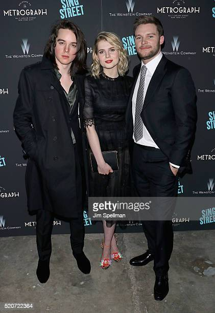 Actors Ferdia WalshPeelo Lucy Boynton and Jack Reynor attend the premiere of 'Sing Street' hosted by The Weinstein Company at Metrograph on April 12...