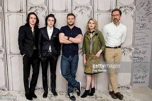 Actors Ferdia WalshPeelo Mark McKenna Jack Reynor Lucy Boynton and director John Carney attend AOL Build Presents 'Sing Street' at AOL Studios In New...