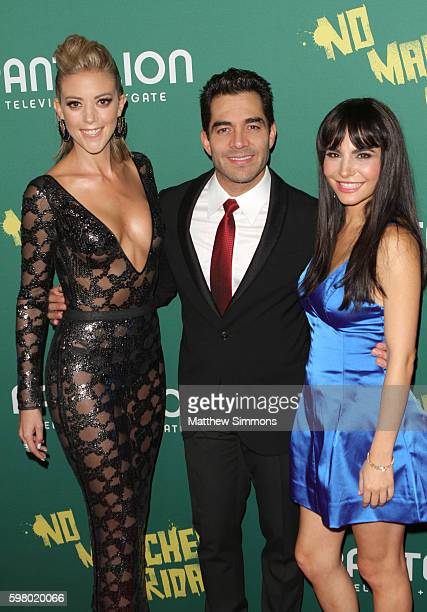 Actors Fernanda Castillo Omar Chaparro and Martha Higareda attend the premiere of Pantelion Films' No Manches Frida at Regal LA Live Stadium 14 on...