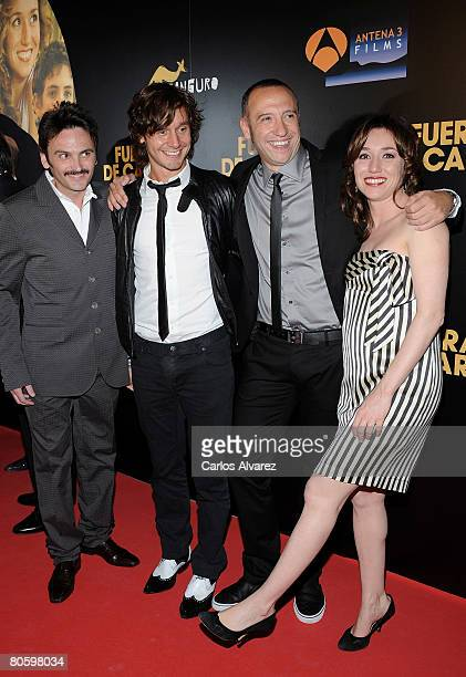 Actors Fernando Tejero Benjamin Vicuna director Nacho Garcia Velilla and Actress Lola Duenas attend the ''Fuera de Carta'' premiere at Callao cinema...