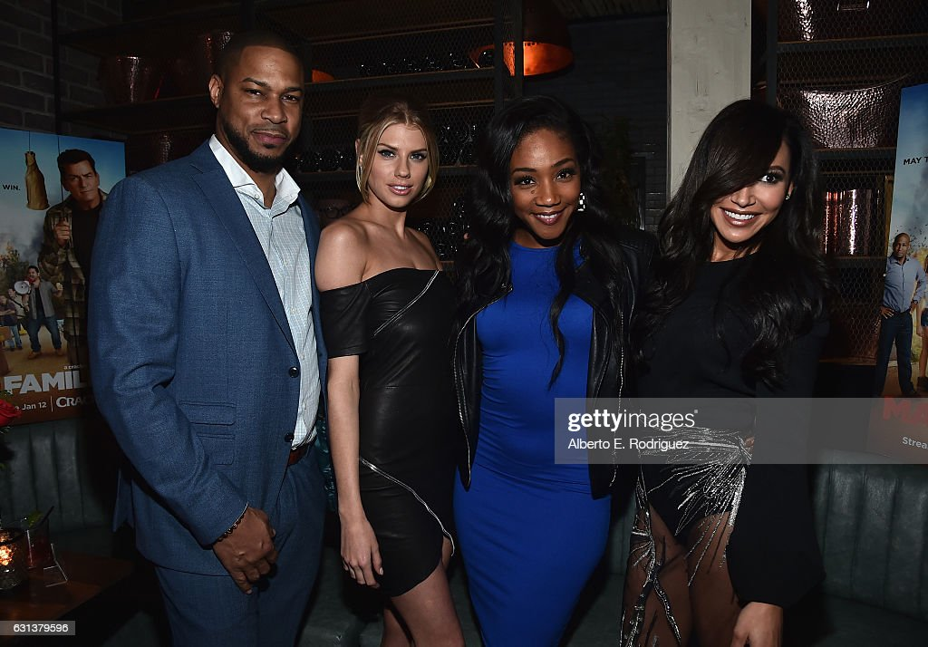 Actors Finesse Mitchell, Charlotte McKinney, Tiffany Haddish and Naya Rivera attend the premiere party for Crackle's 'Mad Families' at Catch on January 9, 2017 in West Hollywood, California.