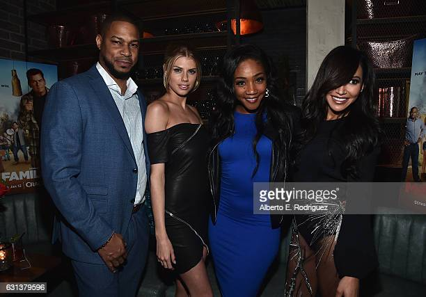 Actors Finesse Mitchell Charlotte McKinney Tiffany Haddish and Naya Rivera attend the premiere party for Crackle's 'Mad Families' at Catch on January...