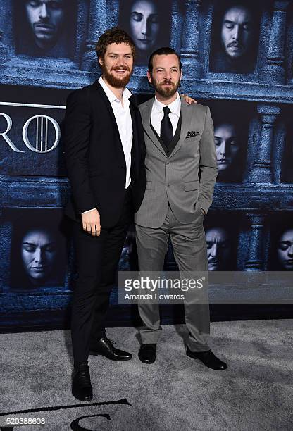 Actors Finn Jones and Gethin Anthony arrive at the premiere of HBO's 'Game Of Thrones' Season 6 at the TCL Chinese Theatre on April 10 2016 in...