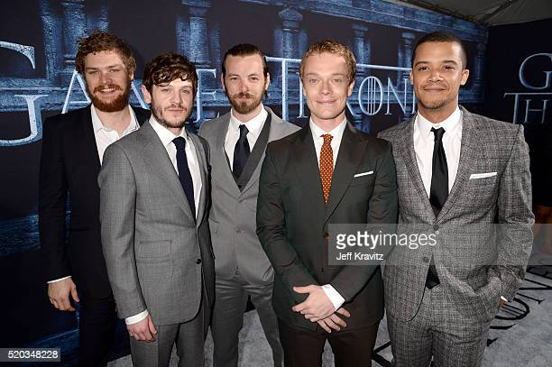 Actors Finn Jones Iwan Rheon Gethin Anthony Alfie Allen and Jacob Anderson attend the premiere for the sixth season of HBO's 'Game Of Thrones' at TCL...