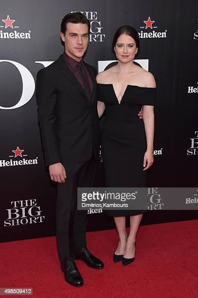 Actors Finn Wittrock and Sarah Roberts attend the premiere of The Big Short at Ziegfeld Theatre on November 23 2015 in New York City