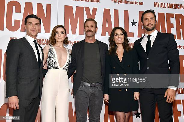 Actors Finn Wittrock Sarah Bolger Aaron Eckhart Robin Tunney and Juston Street attend the premiere of Clarius Entertainment's 'My All American' at...