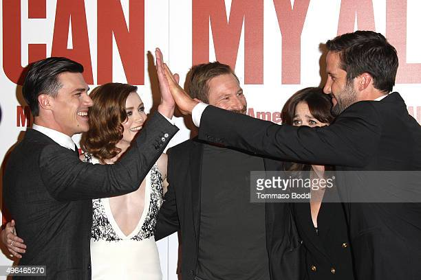 Actors Finn Wittrock Sarah Bolger Aaron Eckhart Robin Tunney and Juston Street attend the premiere of Clarius Entertainment's 'My All American' held...