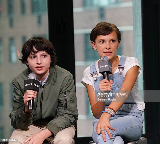 Actors Finn Wolfhard and Millie Bobby Brown attend BUILD Series at AOL HQ on August 31 2016 in New York City