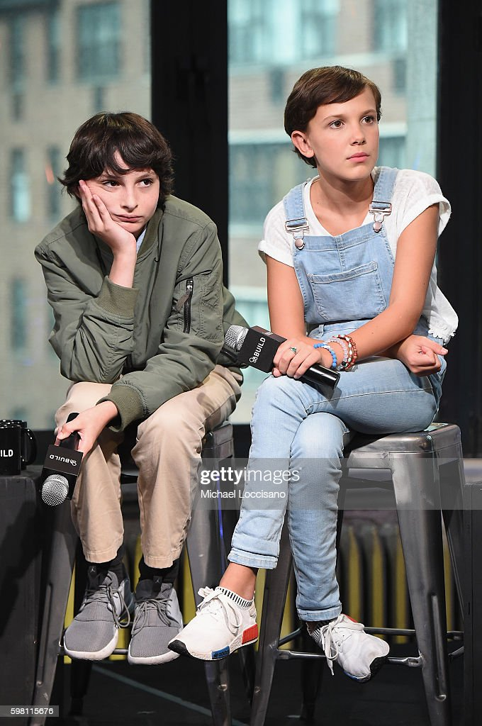Actors Finn Wolfhard and Millie Bobby Brown of 'Stranger Things' attend the BUILD Series at AOL HQ on August 31, 2016 in New York City.