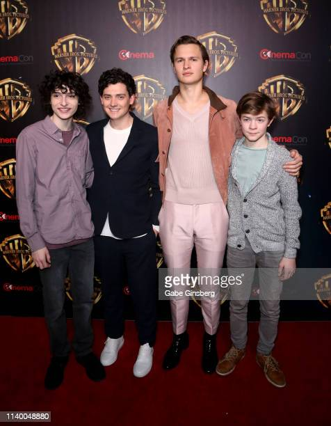 Actors Finn Wolfhard Aneurin Barnard Ansel Elgort and Oakes Fegley attend Warner Bros Pictures The Big Picture exclusive presentation during...