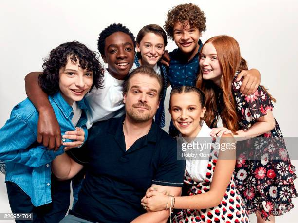Actors Finn Wolfhard Caleb McLaughlin Noah Schnapp Gaten Matarazzo Sadie Sink David Harbour and Millie Bobby Brown from Netflix's 'Stranger Things'...