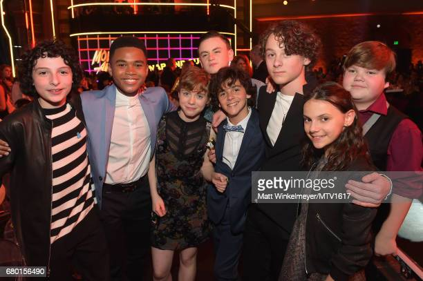 Actors Finn Wolfhard Chosen Jacobs Sophia Lillis Jaeden Lieberher Jack Dylan Grazer _Wyatt Oleff Dafne Keen and Jeremy Ray Taylor attend the 2017 MTV...