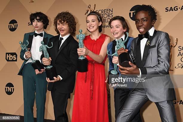 Actors Finn Wolfhard, Gaten Matarazzo, Millie Bobby Brown, Noah Schapp and Caleb McLaughlin, winners of the Outstanding Ensemble in a Drama Series...