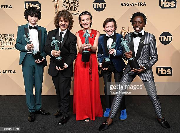 Actors Finn Wolfhard, Gaten Matarazzo, Millie Bobby Brown, Noah Schnapp, and Caleb McLaughlin, co-recipients of the Outstanding Performance by an...