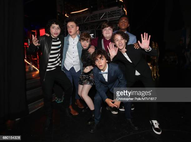 Actors Finn Wolfhard Jaeden Lieberher Sophia Lillis Jack Dylan Grazer Jeremy Ray Taylor Wyatt Oleff and Chosen Jacobs attend the 2017 MTV Movie And...