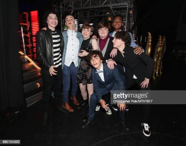Actors Finn Wolfhard Jaeden Lieberher Sophia Lillis Jack Dylan Grazer Jeremy Ray Taylor Wyatt Oleff and Chosen Jacobs attend the 2017 MTV Movie And...