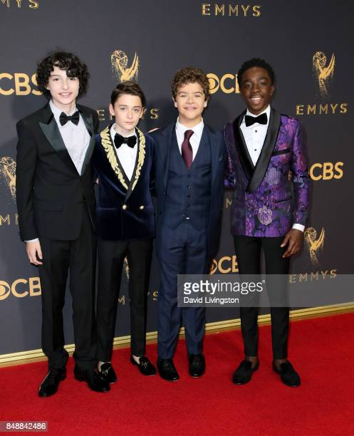 Actors Finn Wolfhard Noah Schnapp Gaten Matarazzo and Caleb McLaughlin attend the 69th Annual Primetime Emmy Awards Arrivals at Microsoft Theater on...