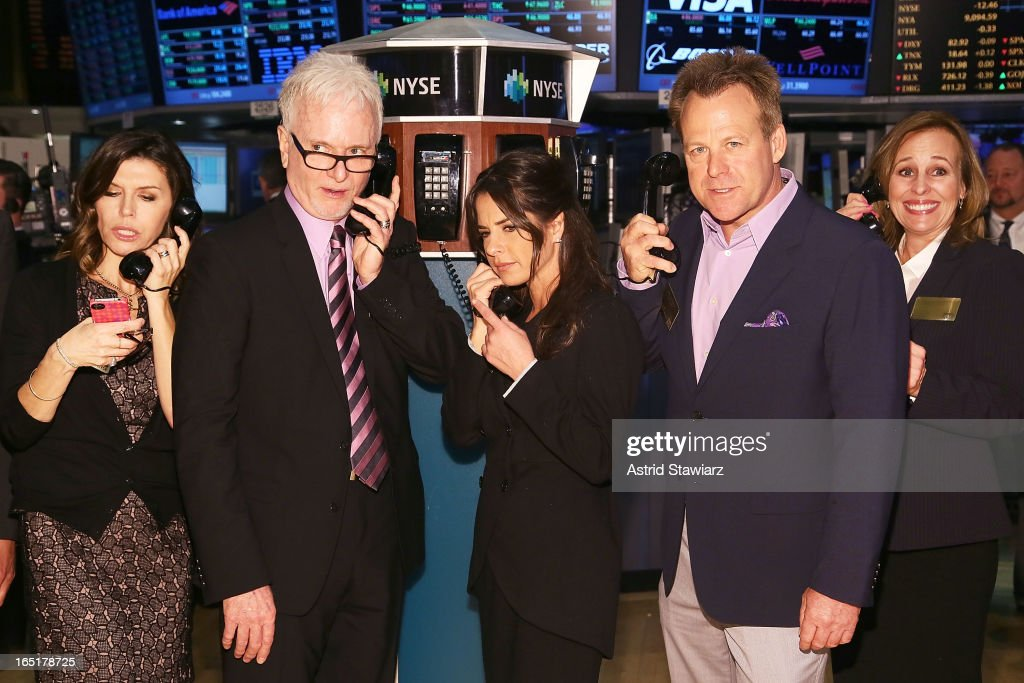 Actors Finola Hughes, Tony Geary, Kelly Monaco, Kin Shriner and Genie Francis of ABC's soap opera General Hospital ring the opening bell at the New York Stock Exchange on April 1, 2013 in New York City.
