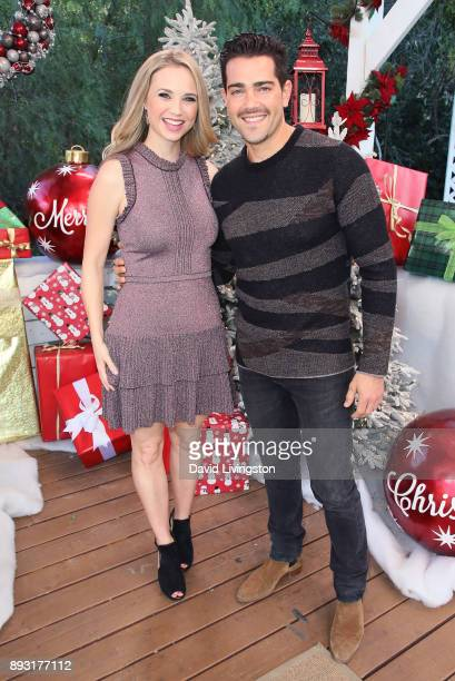 Actors Fiona Gubelmann and Jesse Metcalfe visit Hallmark's Home Family at Universal Studios Hollywood on December 14 2017 in Universal City California