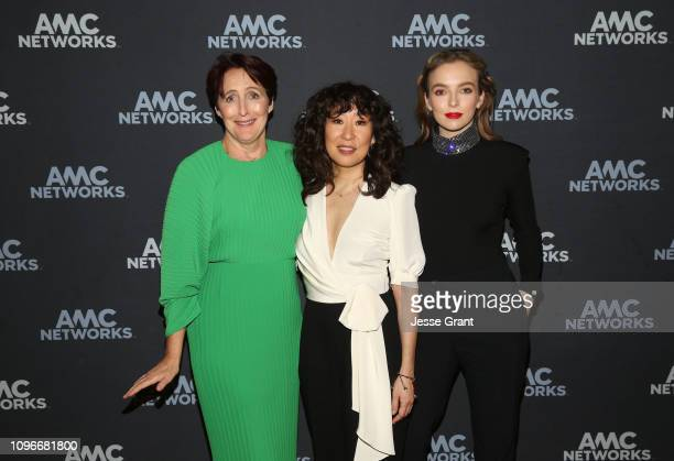 Actors Fiona Shaw Sandra Oh and Jodie Comer attend the Killing Eve panel during the BBC America/AMC portion of the 2019 Winter TCA on February 9 2019...
