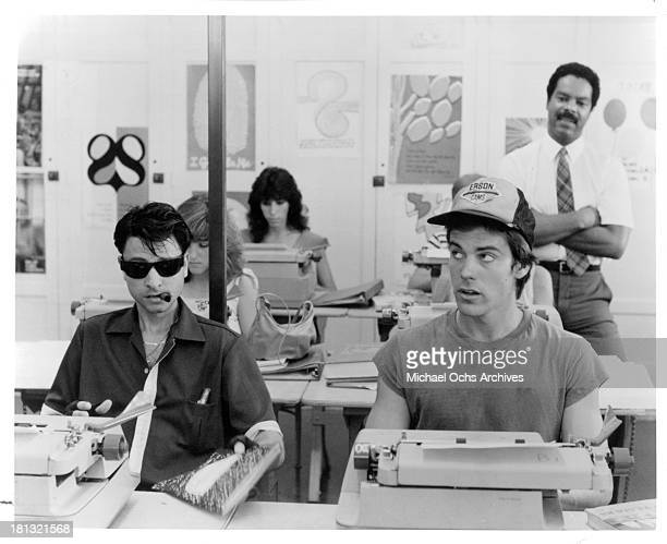 Actors Fisher Steven and John Stockwell on set of the Buena Vista movie My Science Project in 1985