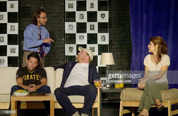 Actors Fisher Stevens Adam Nelson Philip Seymour Hoffman and Marisa Tomei perform in the 24 Hour Plays September 24 2001 in New York City to benefit...