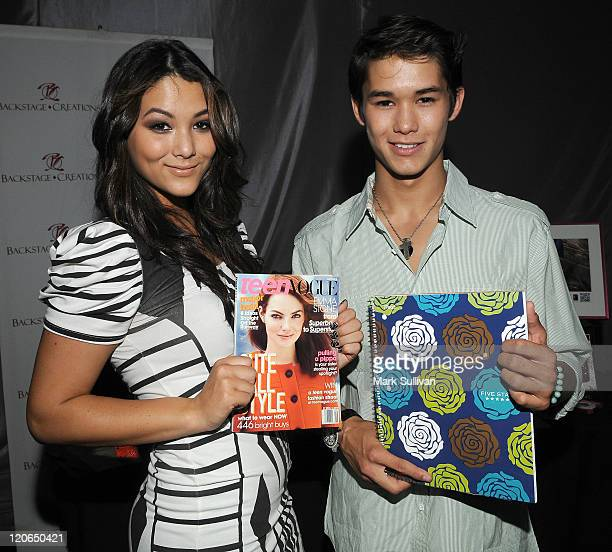 Actors Fivel Stewart and Boo Boo Stewart attend Backstage Creations Celebrity Retreat during Teen Choice 2011 day 2 at Gibson Amphitheatre on August...