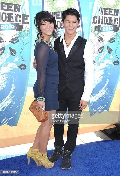 Actors Fivel Stewart and BooBoo Stewart arrive at the 2010 Teen Choice Awards at Gibson Amphitheatre on August 8 2010 in Universal City California