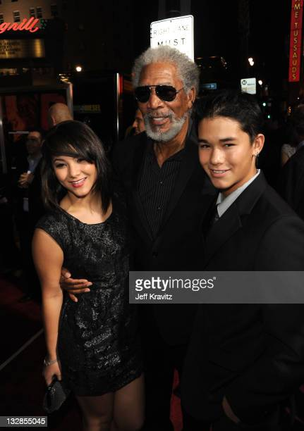 Actors Fivel Stewart Morgan Freeman and BooBoo Stewart arrive at the Los Angeles Special Screening of RED held at Grauman's Chinese Theatre on...