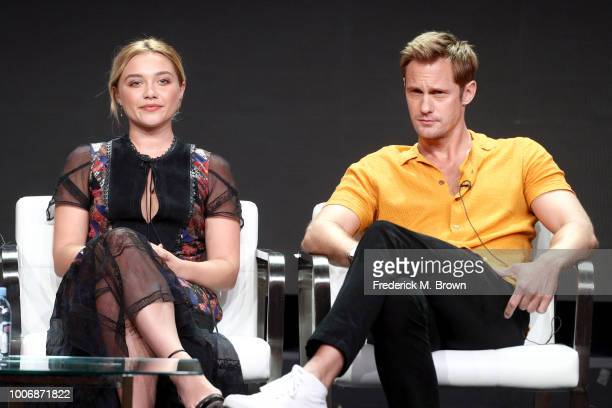 Actors Florence Pugh and Alexander Skarsgard of 'The Little Drummer Girl' speak onstage during the AMC Networks portion of the Summer 2018 TCA Press...