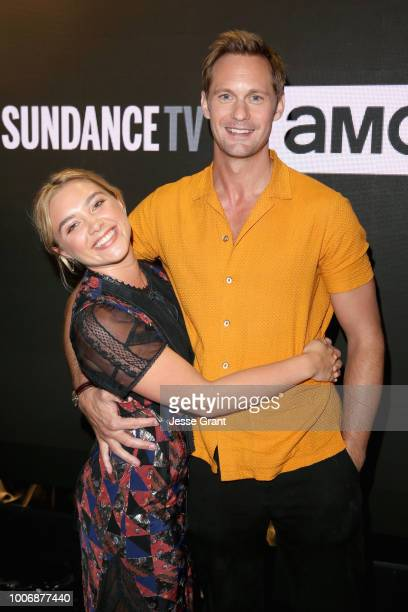 Actors Florence Pugh and Alexander Skarsgård of 'The Little Drummer Girl' attend the AMC Networks portion of the Summer 2018 TCA Press Tour at The...