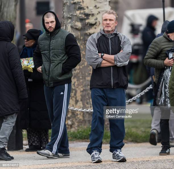 Actors Florian Munteanu and Dolph Lundgren are seen on set filming 'Creed II' at the Rocky Statue and the 'Rocky Steps' at The Philadelphia Museum of...