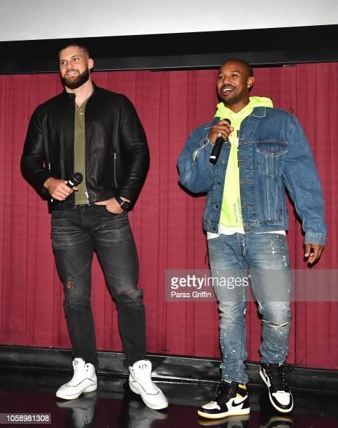 Actors Florian Munteanu and Michael B Jordan surprise moviegoers during the Creed 2 Atlanta screening at Regal Atlantic Station on November 7 2018 in...