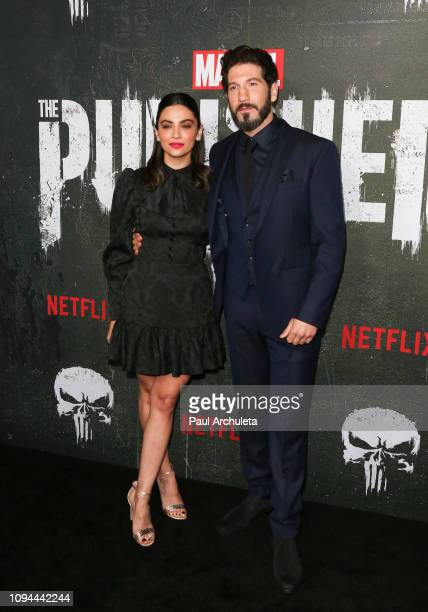 Actors Floriana Lima and Jon Bernthal attend Marvel's The Punisher Los Angeles premiere at the ArcLight Hollywood on January 14 2019 in Hollywood...