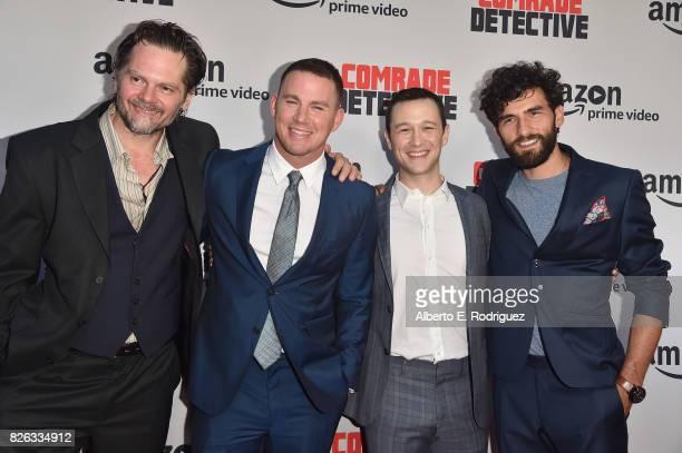 "Actors Florin Piersic Jr. Channing Tatum, Joseph Gordon-Levitt and Cornilieu Ulici attend the premiere of Amazon's ""Comrade Detective"" at ArcLight..."