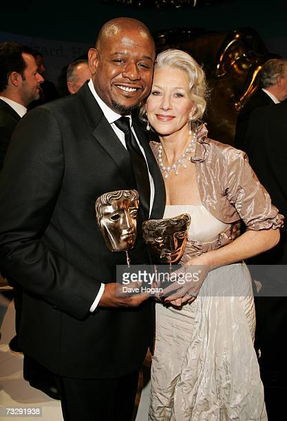 Actors Forest Whitaker and Dame Helen Mirren pose with the awards for Best Actor and Best Actress in a Leading Role for The Last King of Scotland and...