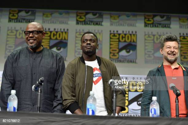 Actors Forest Whitaker Daniel Kaluuya and Andy Serkis from Marvel Studios' 'Black Panther' at the San Diego ComicCon International 2017 Marvel...