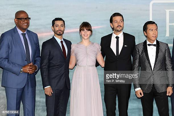 Actors Forest Whitaker Riz Ahmed Felicity Jones Diego Luna and Donnie Yen attend the launch event for 'Rogue One A Star Wars Story' at Tate Modern on...