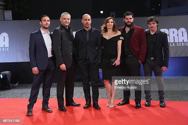 Actors Fortunato Cerlino, Marco D'Amore, Maria Pia Calzone, Salvatore Esposito and Marco Parvetti attend the 'Gomorra - La Serie' photocall at The...